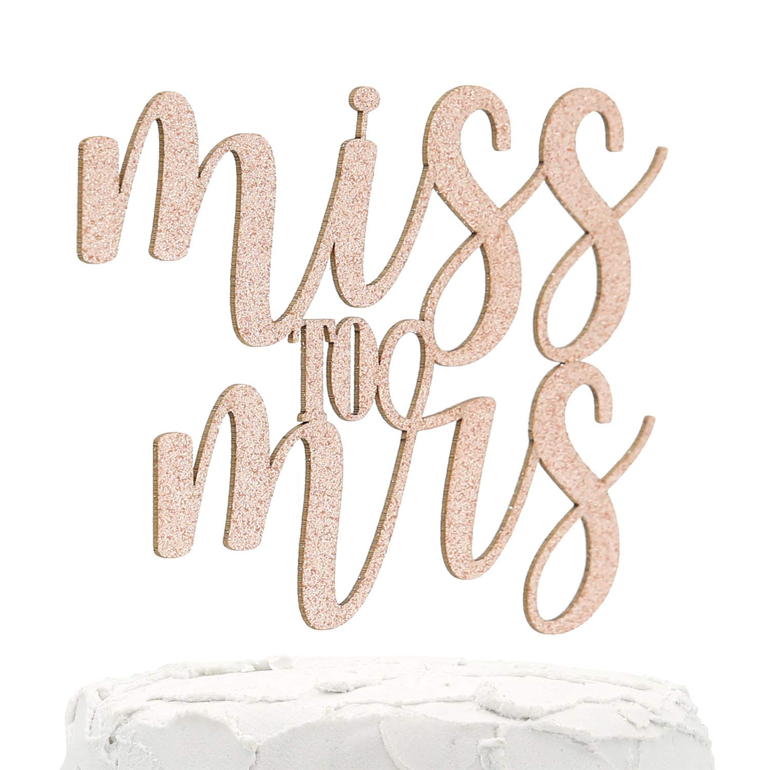 NANASUKO Bachelorette Party Cake Topper - Miss to Mrs - Double Sided Rose Gold Glitter - Premium quality Made in USA