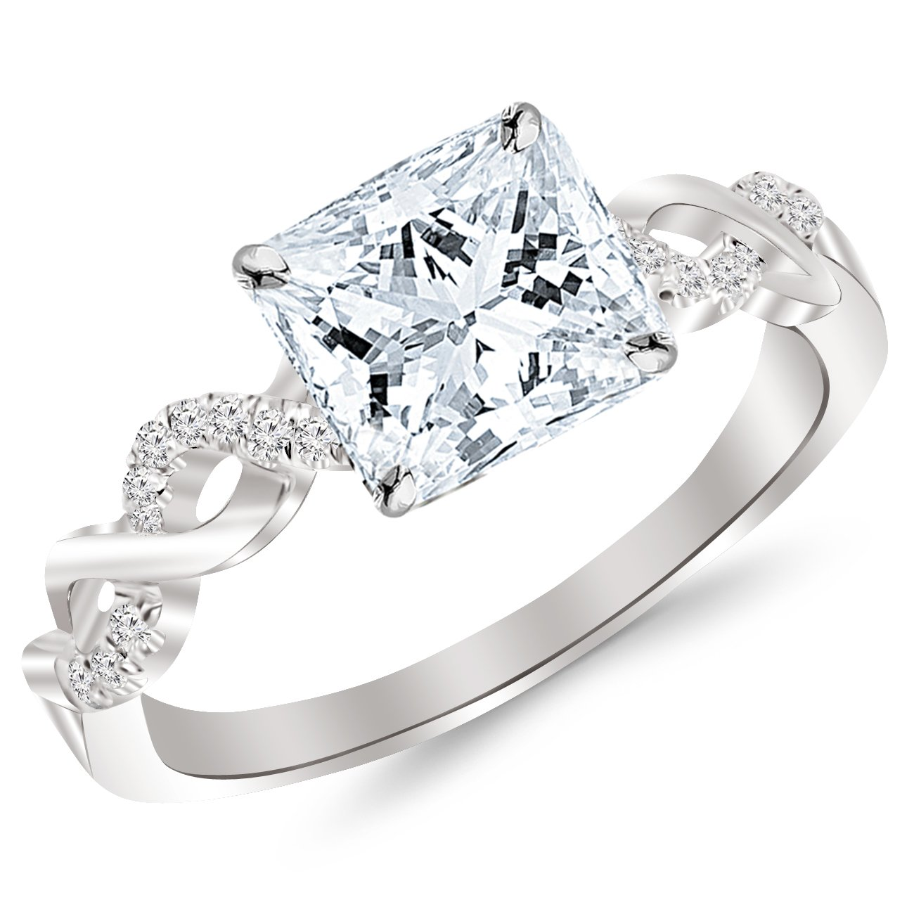 White Gold Curving Split Shank Diamond Engagement Ring with a 0.5 Carat GIA Certified Princess Cut E Color VS1 Clarity Center Stone
