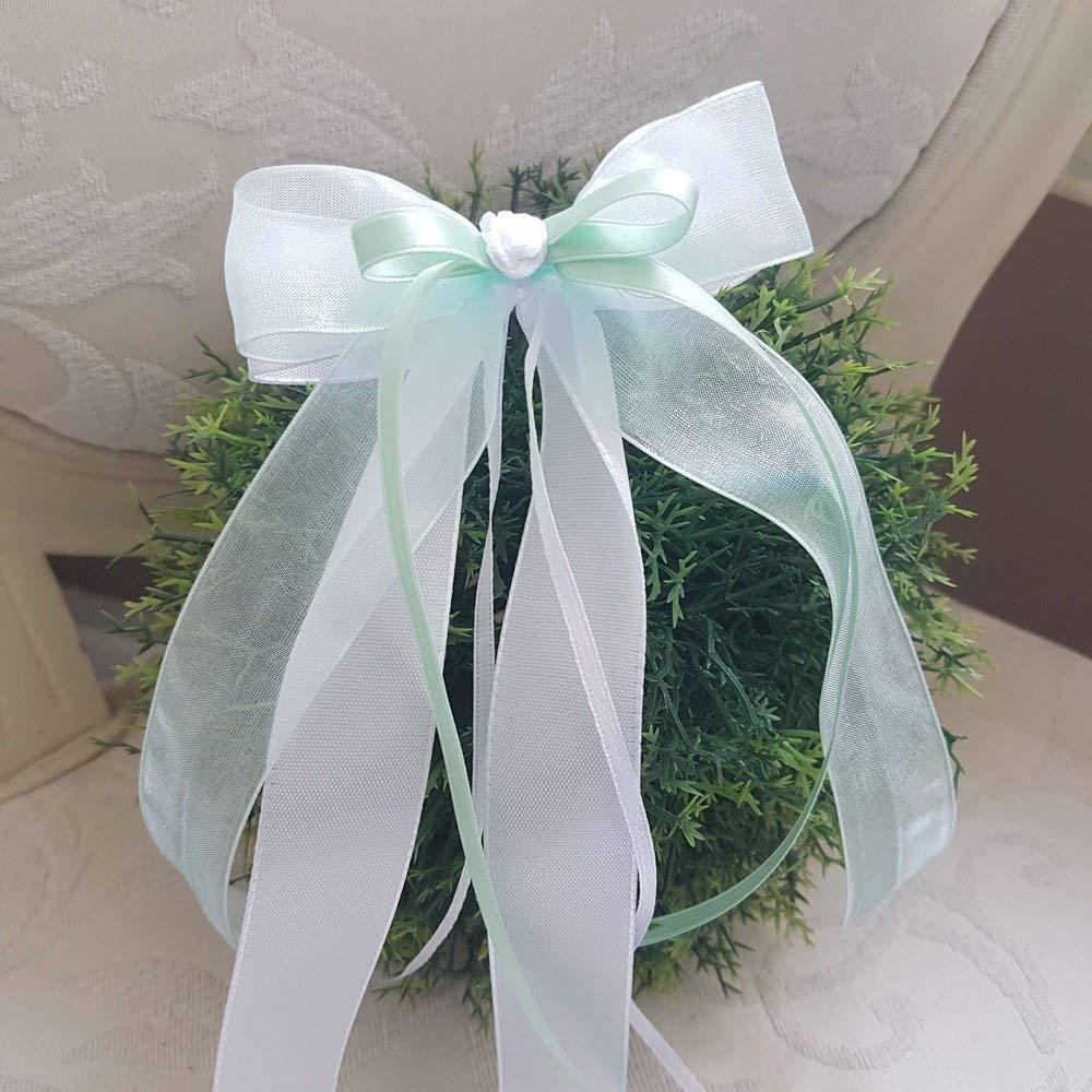 10 Stü ck Autoschleifen - Antennenschleifen - Spiegelschleifen Hochzeit Mint-Weiß