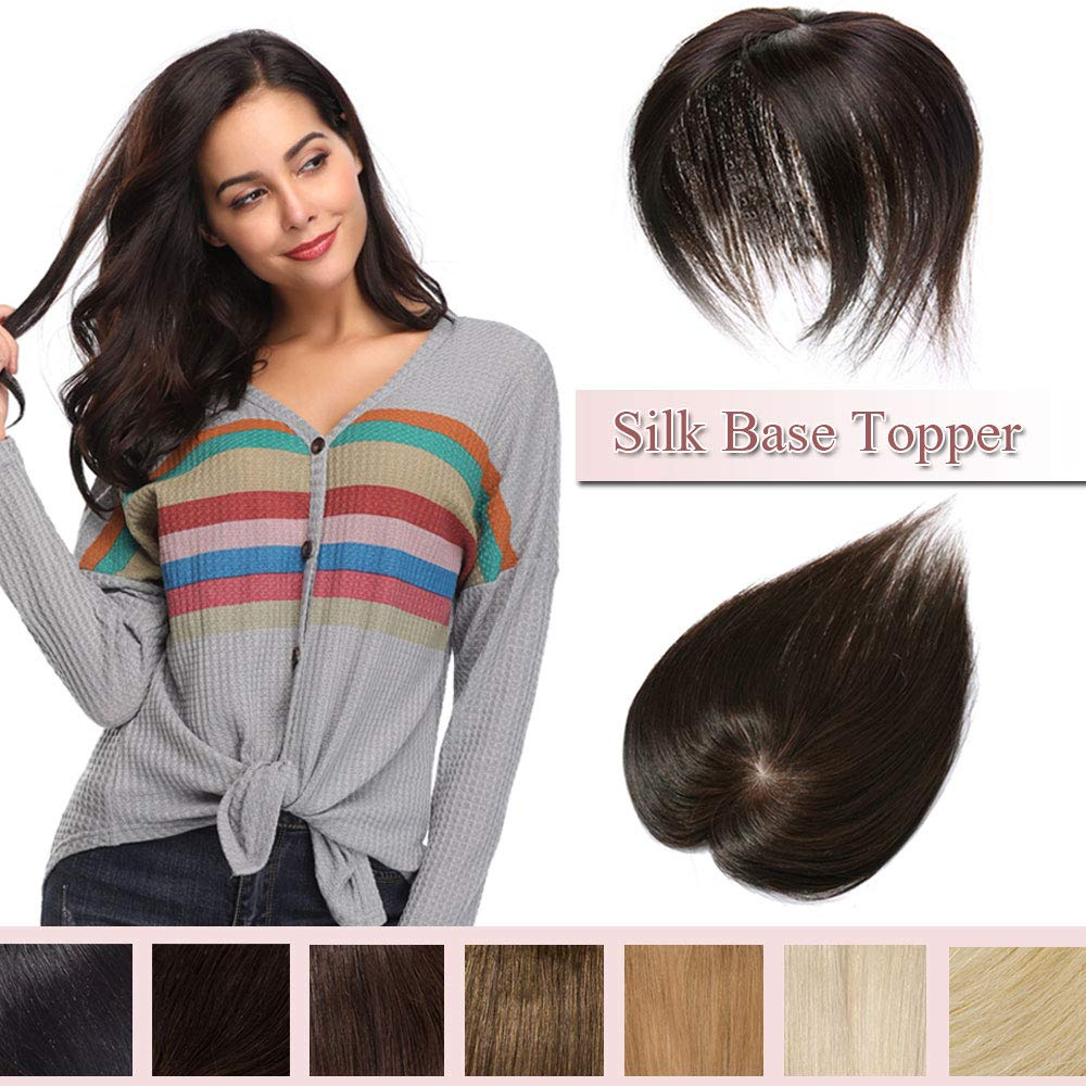 100% Real Human Hair Silk Base Top Hairpiece Clip in Hair Topper for Women Crown in Hand-made Toppee Middle Part with Thinning Hair Loss Hair #2 Dark Brown 10''20g by Rich Choices