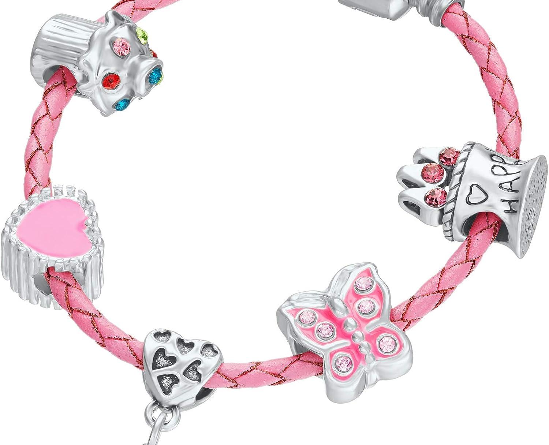 pour 5/ème anniversaire Jewellery Hut Bracelet /à breloques en cuir rose pour fille avec pochette cadeau