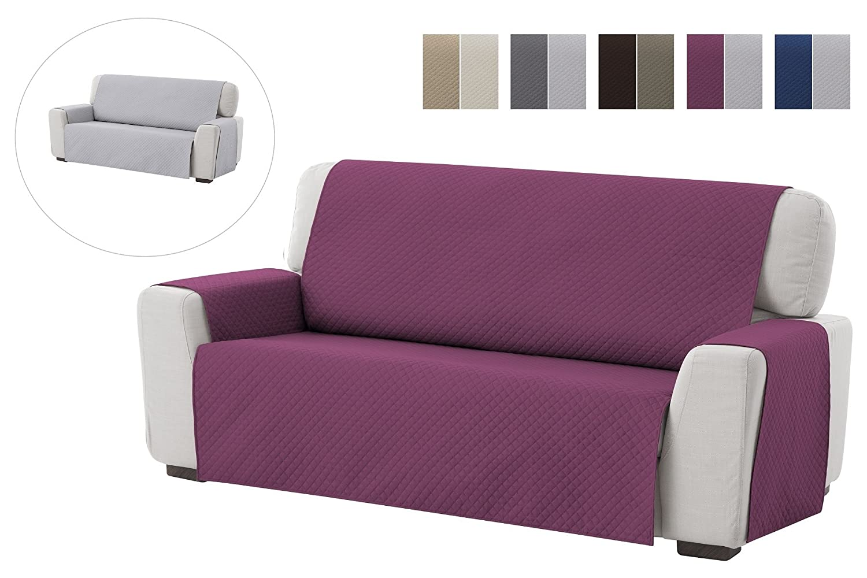 textil-home Funda Cubre Sofá Adele, 4 Plazas, Protector para Sofás Acolchado Reversible. Color Malva
