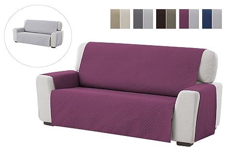 textil-home Funda Cubre Sofá Adele, 1 Plaza, Protector para Sofás Acolchado Reversible. Color Malva
