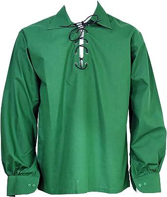 Escocés Oscuro Verde Jacobita GHILLIE Falda Escocesa Camisa CUERO CUERDA