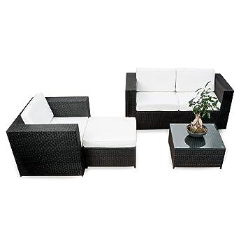 Charmant Polyrattan Lounge Möbel Set Balkon   Schwarz   Sitzgruppe Garnitur  Gartenmöbel