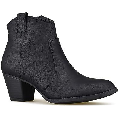 24b65d3ae Premier Standard - Women's Zipper Closed Toe Ankle Booties - Low Heel  Pull-On Tab