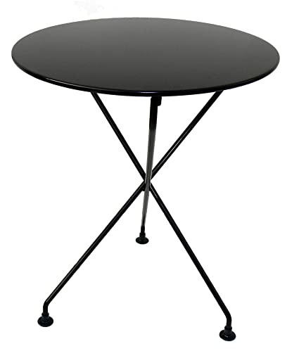 Stupendous Mobel Designhaus French Cafe Bistro 3 Leg Folding Bistro Table Jet Black Frame 24 Round Metal Top X 29 Height Best Image Libraries Weasiibadanjobscom