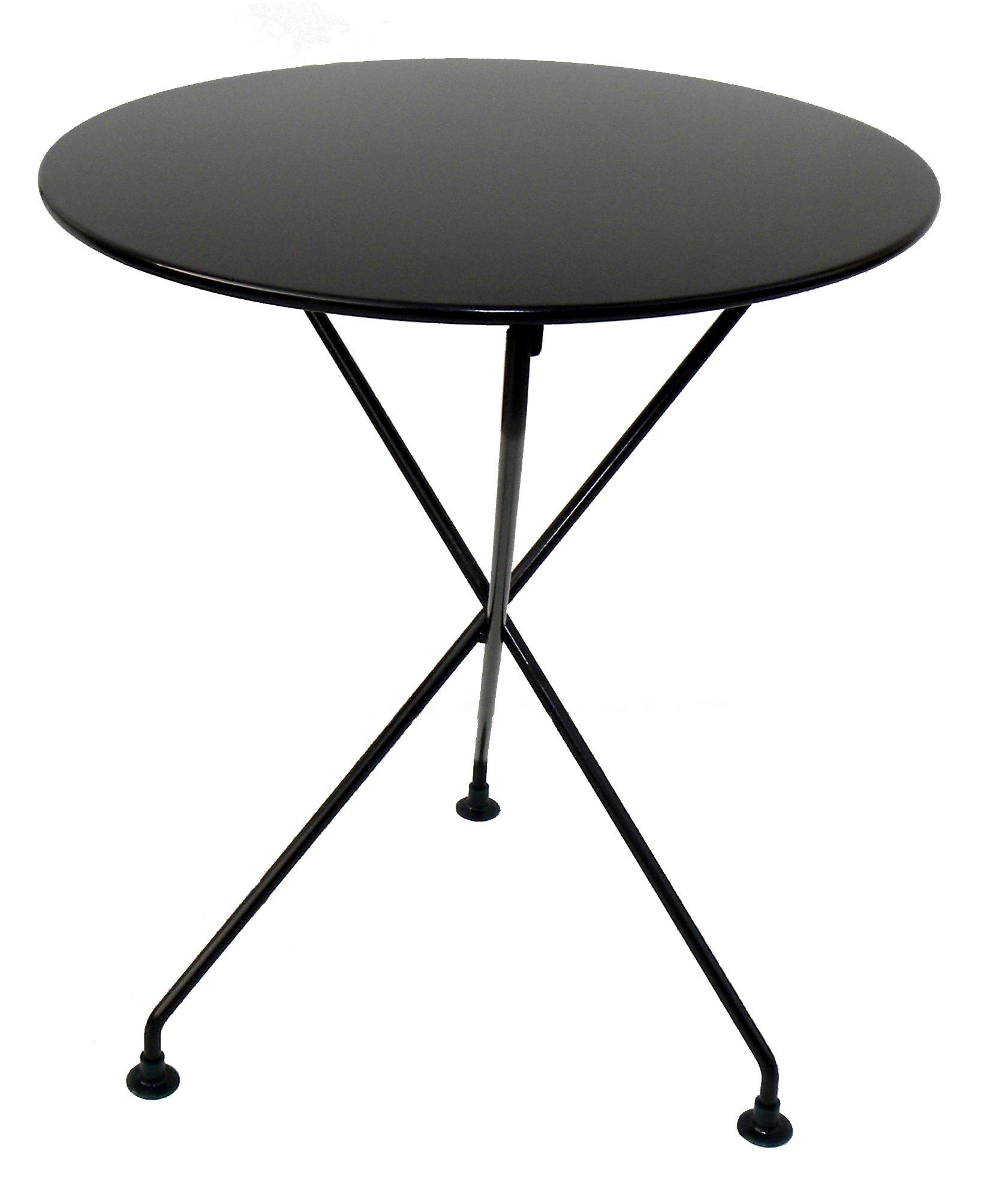 Mobel Designhaus French Café Bistro 3-leg Folding Bistro Table, Jet Black Frame, 24'' Round Metal Top x 29'' Height