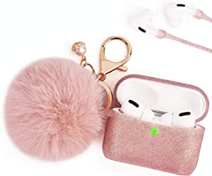 Case for Airpods Pro, Bling Airpod Pro Protective Cover Case for Apple AirPods Pro Charging Case, FILOTO Cute Air Pods 3 Accessories Silicone Case Keychain/Pompom/Skin/Strap, Rose Gold
