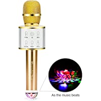 Q8 Wireless Microphone Bluetooth, Handheld Karaoke mic Speaker with stage lights, Original Sing Mode free to switch (Earthly gold)
