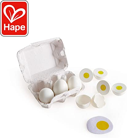 Hape Egg Carton | 3 Hard-Boiled Eggs with Easy-Peel Shell & 3 Fried, Wooden Realistic Educational Toy for Children 3+