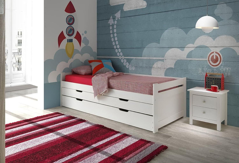 Cama nido Doble Roma 90X190 madera maciza en Blanco