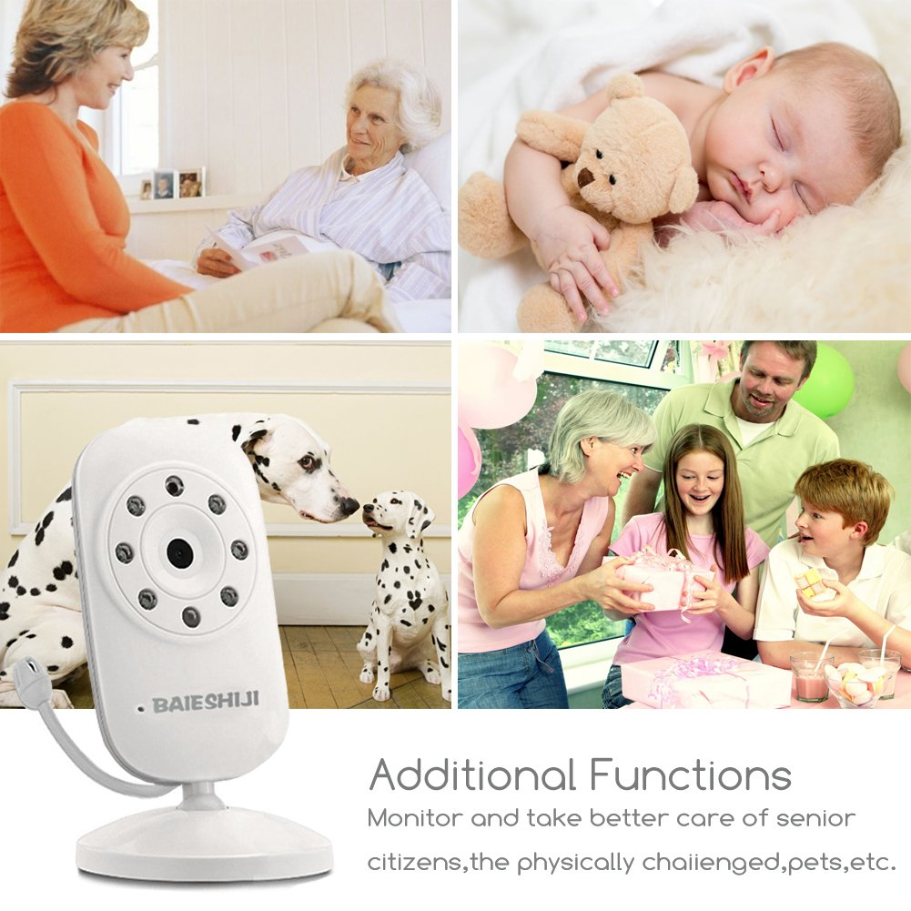 Baby Monitor, Video Baby Monitor 3.5'' Large LCD Screen, Baby Monitors with Camera and Audio Night Vision,Support Multi Camera,ECO Mode,Two Way Talk Temperature Sensor,Built-in Lullabies (3.5 inch) by BAIESHIJI (Image #9)