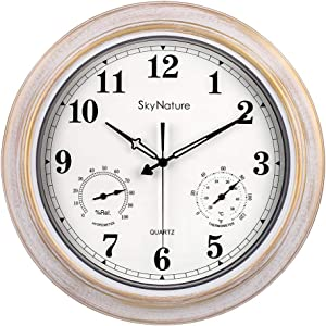 Large Outdoor Clock, Waterproof Clock with Thermometer and Hygrometer Combo, Silent Battery Operated Vintage Metal Clock for Living Room, Patio, Garden, Pool Decor - 18 Inch, Brush White