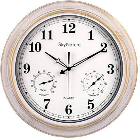 large outdoor clocks waterproof clock with thermometer and hygrometer combo silent battery operated vintage metal clock for living room patio