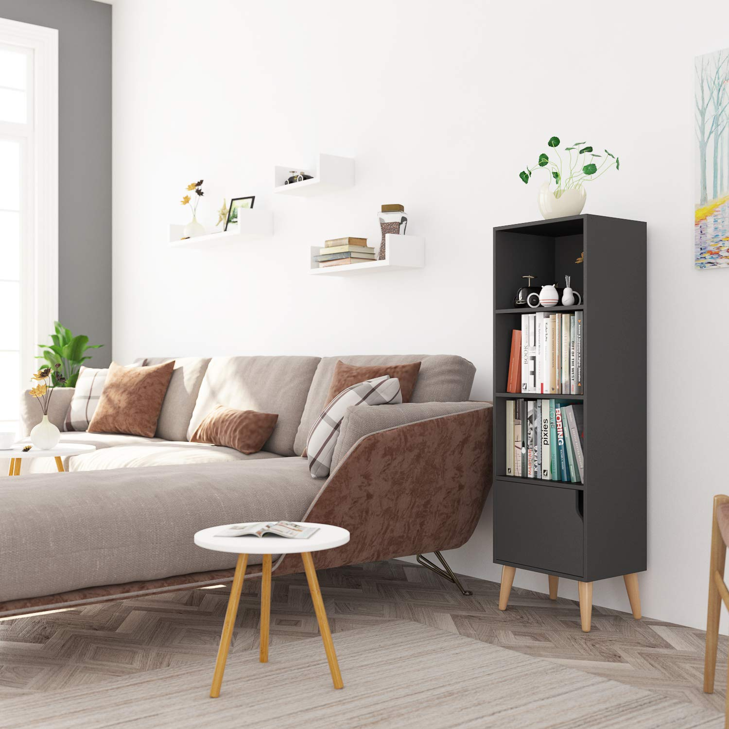 Homfa 4 Tier Floor Cabinet, Free Standing Wooden Display Bookshelf with 4 Legs and 1 Door, Side Corner Storage Cabinet Decor Furniture for Home Office, Gray by Homfa (Image #6)