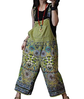 5512dc460a1 YESNO P89 Women Casual Loose Overalls Floral Jumpsuits Button-Up Tops Low  Crotch Pockets