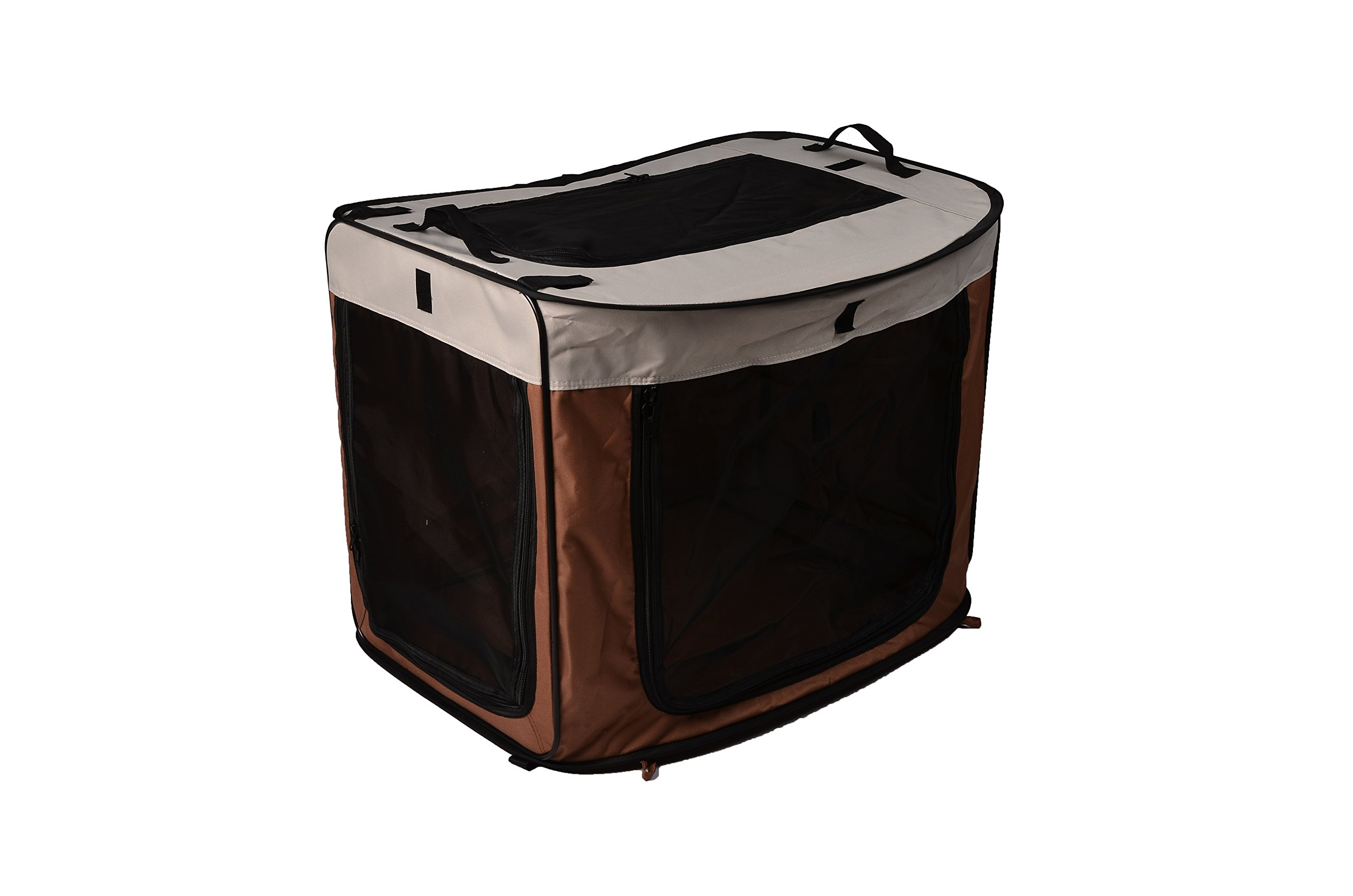 HappyCare Textiles Large Portable/Foldable Kennel, 31.8'' x 22.5'' x 24.5''/25.6'' x 20.86'' x 2.35'', Brown/Coffee/Ivory