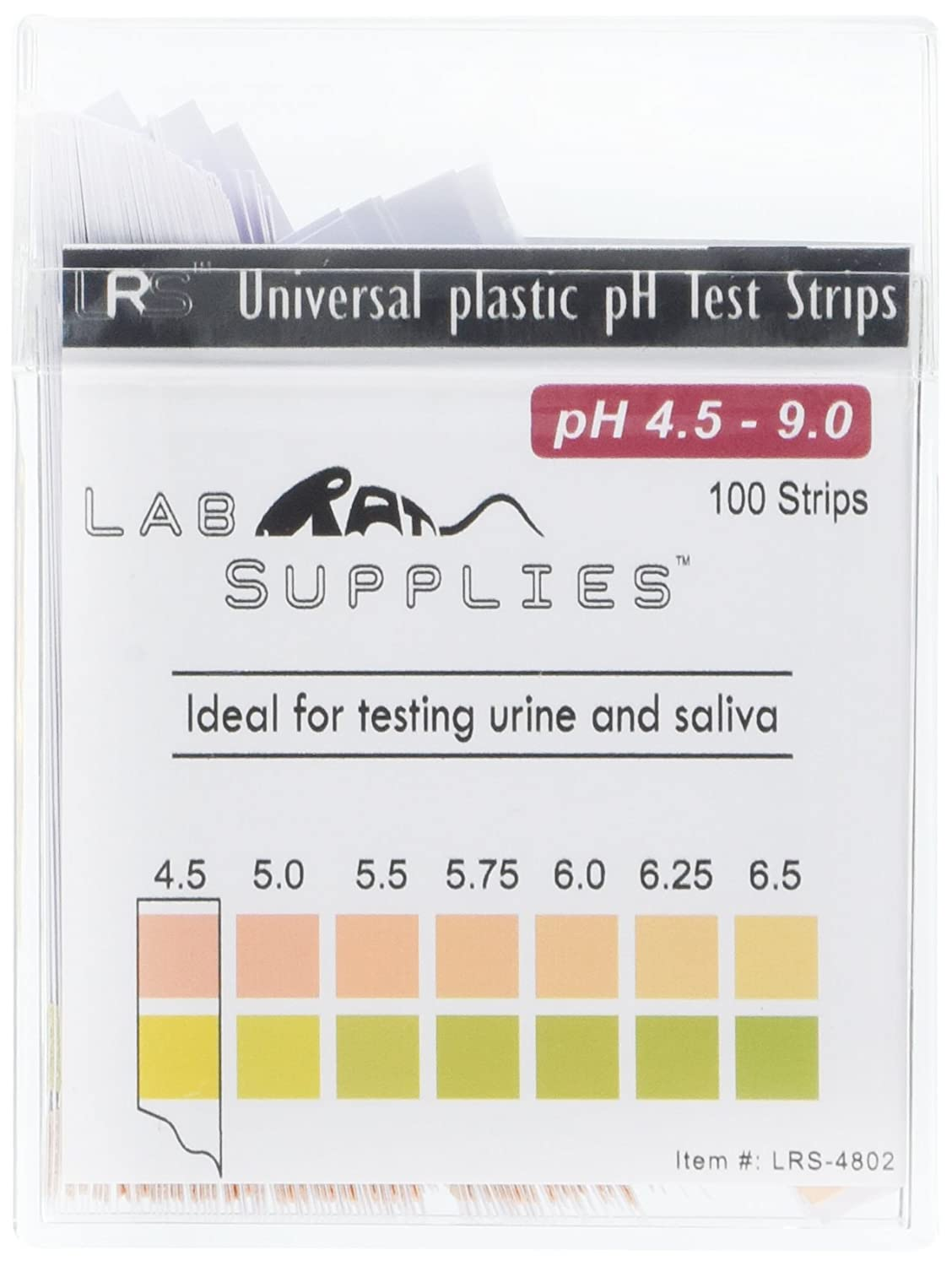 Plastic pH Test Strips, Universal Application (pH 4.5-9.0), 100 Strips | for Urine, Saliva, Aquariums, etc.