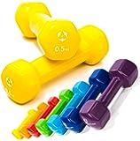 #DoYourFitness Haltères en vinyle »Hexagon«/idéals pour l'entraînement de Musculation et de fitness/Haltères muni de protection néoprène/disponible en différents poids & couleurs de 0,5kg à 4kg