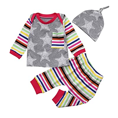 3PCS Toddler Infant Baby Boy Girl Star print rainbow T shirt Tops+Striped Pants+Hat Clothes Set Raptop
