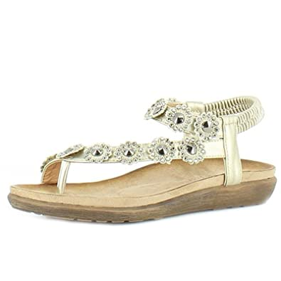 402bb9460a69 Heavenly Feet Lulu Womens Ladies Strappy Sandals Gold - Gold - UK Size 7