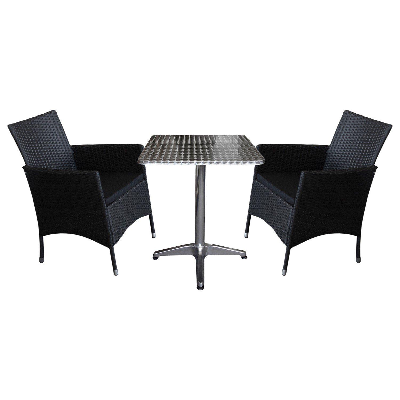 3tlg sitzgarnitur bistro balkonm bel set gartentisch 60x60cm aluminium 2x rattansessel. Black Bedroom Furniture Sets. Home Design Ideas