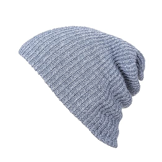 04ece9d825f Image Unavailable. Image not available for. Color  Men s Fashion Slouch  Beanie Skull Cap Snowboard Hat Winter Hat (Light Grey)