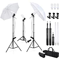 """Voilamart 2× Photography Studio Lighting Soft Umbrella Kit 5500K Continuous Professional Lighting Umbrellas 33"""" with E27 Day-Light Bulbs, 3 Light Stands for Portrait Photography Studio Video Shooting"""