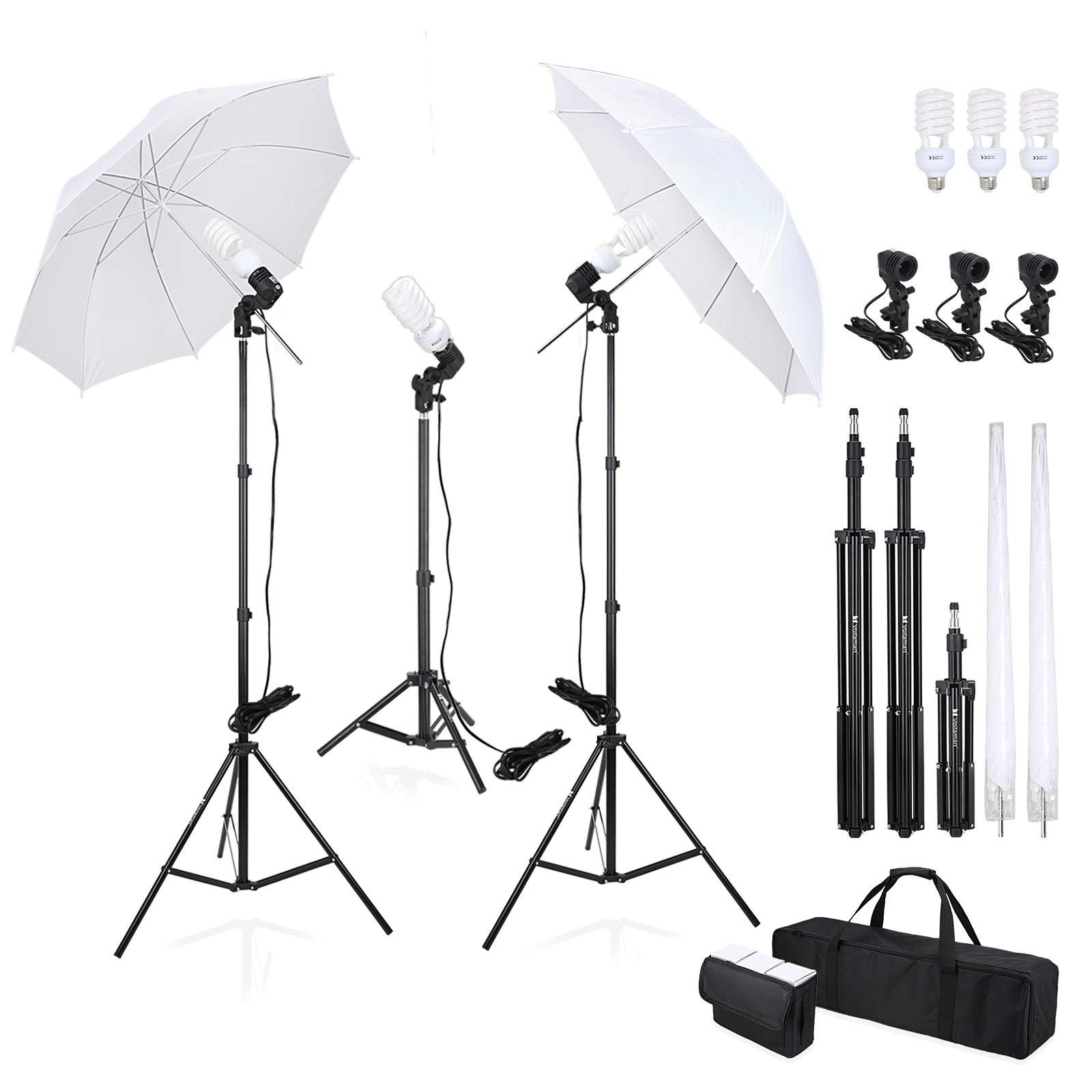 Voilamart 2× Photography Studio Lighting Soft Umbrella Kit 5500K Continuous Professional Lighting Umbrellas 33