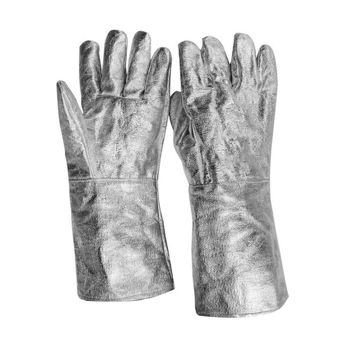 A Pair/Set Aluminum Foil Fireproof Gloves Flexible Full Finger Heat Insulation Gloves Fire Resistant Safety Gloves
