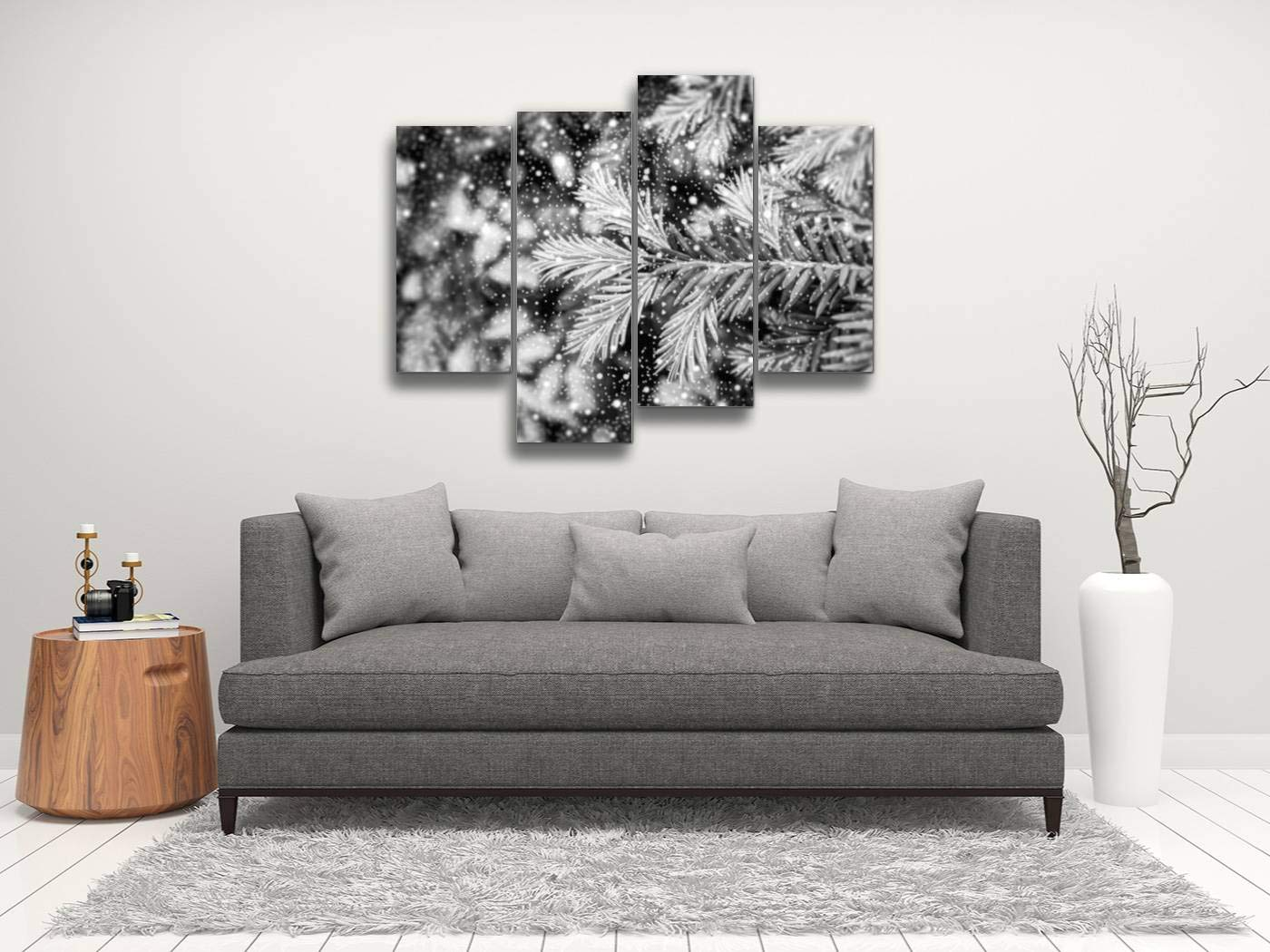 Young Shoots of Pine Tree Macro with Shiny Snowfall HDR Effect Black Canvas Wall Art Hanging Paintings Modern Artwork Abstract Picture Prints Home Decoration Gift Unique Designed Framed 4 Panel