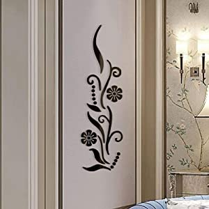 3D Flower Mirror Wall Sticker for Bedroom Living Room Sofa Backdrop Tv Wall Background, 3D Removable Acrylic Wall Decor Decal Sticker for Home Decoration (Black)