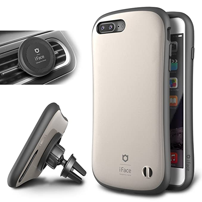 release date 091e2 91c76 iFace Duo Case and Magnetic Car Mount set for iPhone 7 Plus - 2 in 1 Rugged  Military Grade Protective Case with Car Holder/Kickstand [Champagne Gold]