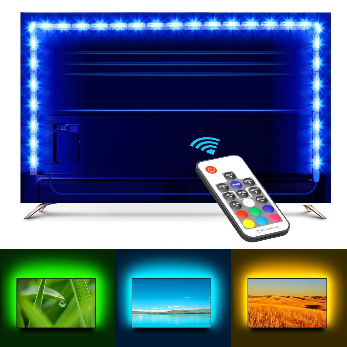 Strisce di LED Remoto TV, Minger 2M Striscia LED Illuminazione USB per HDTV, PC Desktop 40-60 Pollici, TV con Retroilluminazione (Non Impermeabile)