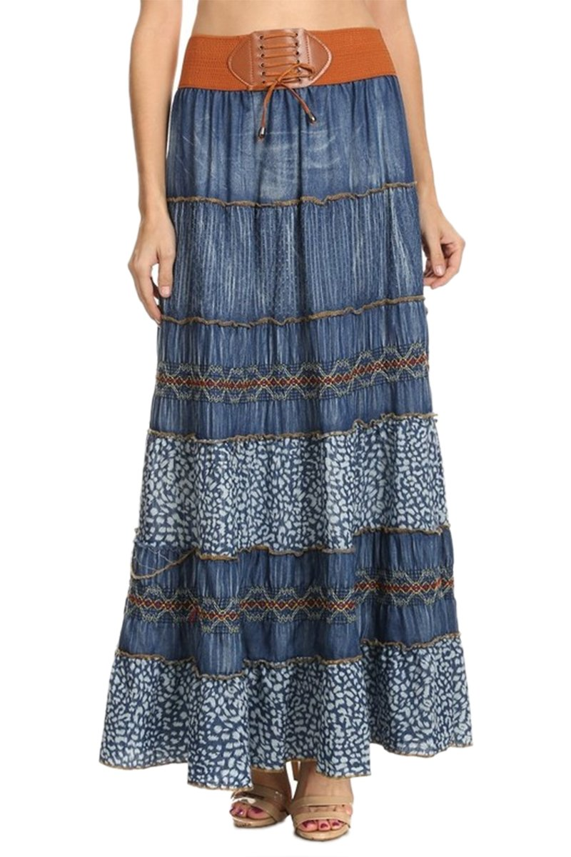 60s Skirts | 70s Hippie Skirts TheMogan Embroidered Tiered Flare A-Line Smocked Waist Long Maxi Denim Skirt $34.99 AT vintagedancer.com