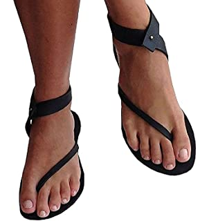 d077c3b5ba7d71 Womens Flat Sandals Ankle Strap Buckle Flip Flop Gladiator Thong Summer  Shoes
