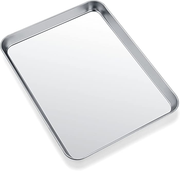Toaster Oven Tray Pan, Zacfton Baking Sheet Stainless Steel Cookie Sheet Rectangle Size 10 x 8 x 1 inch, Non Toxic & Healthy,Superior Mirror Finish & Easy Clean, Dishwasher Safe (10inch)
