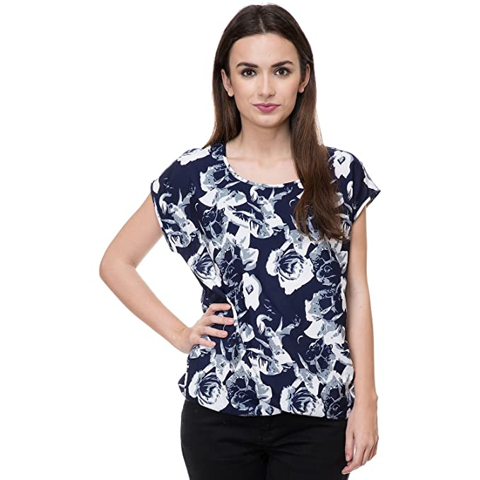4e56415ab2835 Deewa Blue   White Polycrepe Round Neck Casual Tops for Women ...