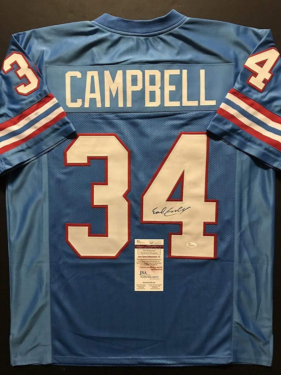 Autographed/Signed Earl Campbell Houston Blue Football Jersey JSA COA