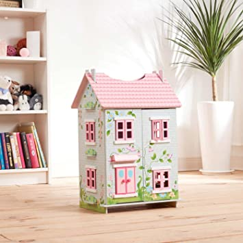 Teamson Kids 3 Level Floral Design Sweet Pea Cottage Floor Tabletop Dollhouse 7 Pieces Of Wooden Furniture 3 Years Amazon Co Uk Toys Games