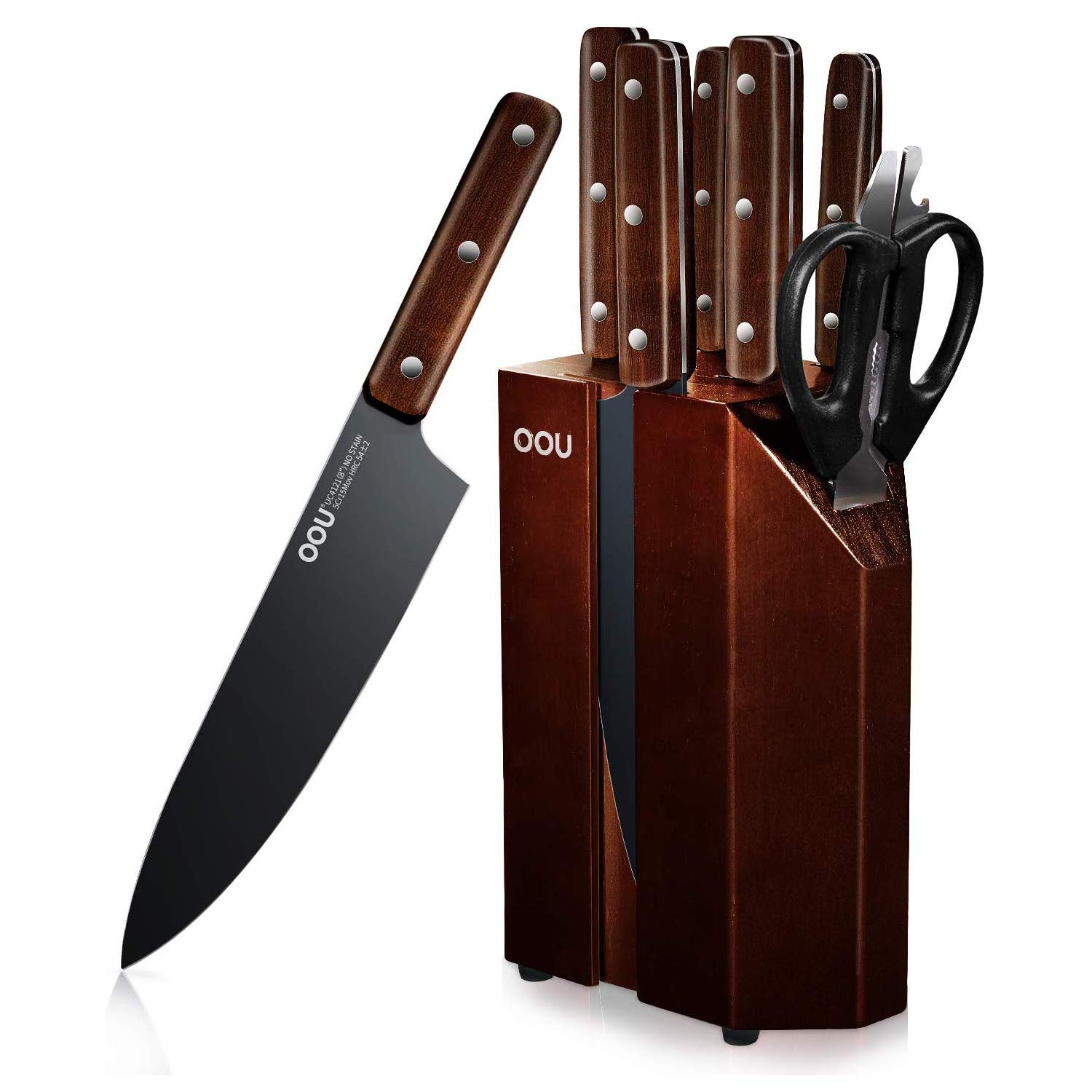 Kitchen Knife Set, OOU 8 Piece Chef Knife Set with Wooden Block, High Carbon Stainless Steel Knife Set, Cutlery Knives Set with Ebony Wood Handle, FDA Certified BO Oxidation for Anti-rusting by OOU!