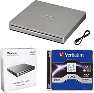 Pioneer BDR-XS07S Portable 6X Blu-ray Burner External Drive Bundle with 50GB M-DISC BD-R DL and USB Cable - Burns CD DVD BD DL BDXL Discs