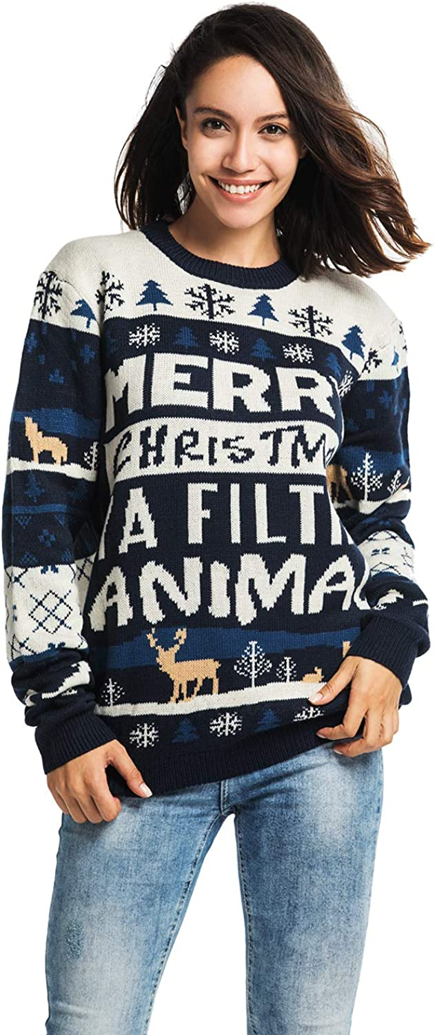 Unisex Women's Ugly Christmas Sweater Funny Fair Isle Knitted Classic Design Xmas Pullover Santa