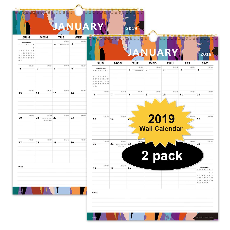 Academic Year Calendar 2019-16 Amazon.: 2 Pack Cabbrix Monthly Wall Calendar 2019, 16 4/5