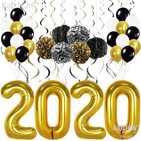 Graduations Party Supplies 2020-2020 Balloons Gold, Pack of 49