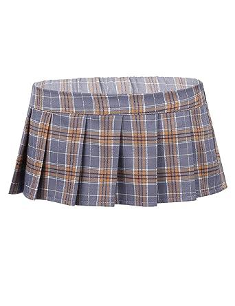 YiZYiF Falda Plisada Disfraz Colegiala Sexy para Mujer Mini Falda ...