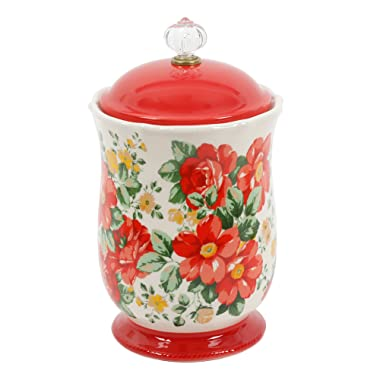 Pioneer Woman Pioneer Vintage Floral 10 Inches Canister with Acrylic Knob
