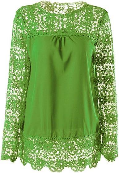 Tops Spring Blusa Blanca para Mujer, Camisas de Encaje Blusa ...