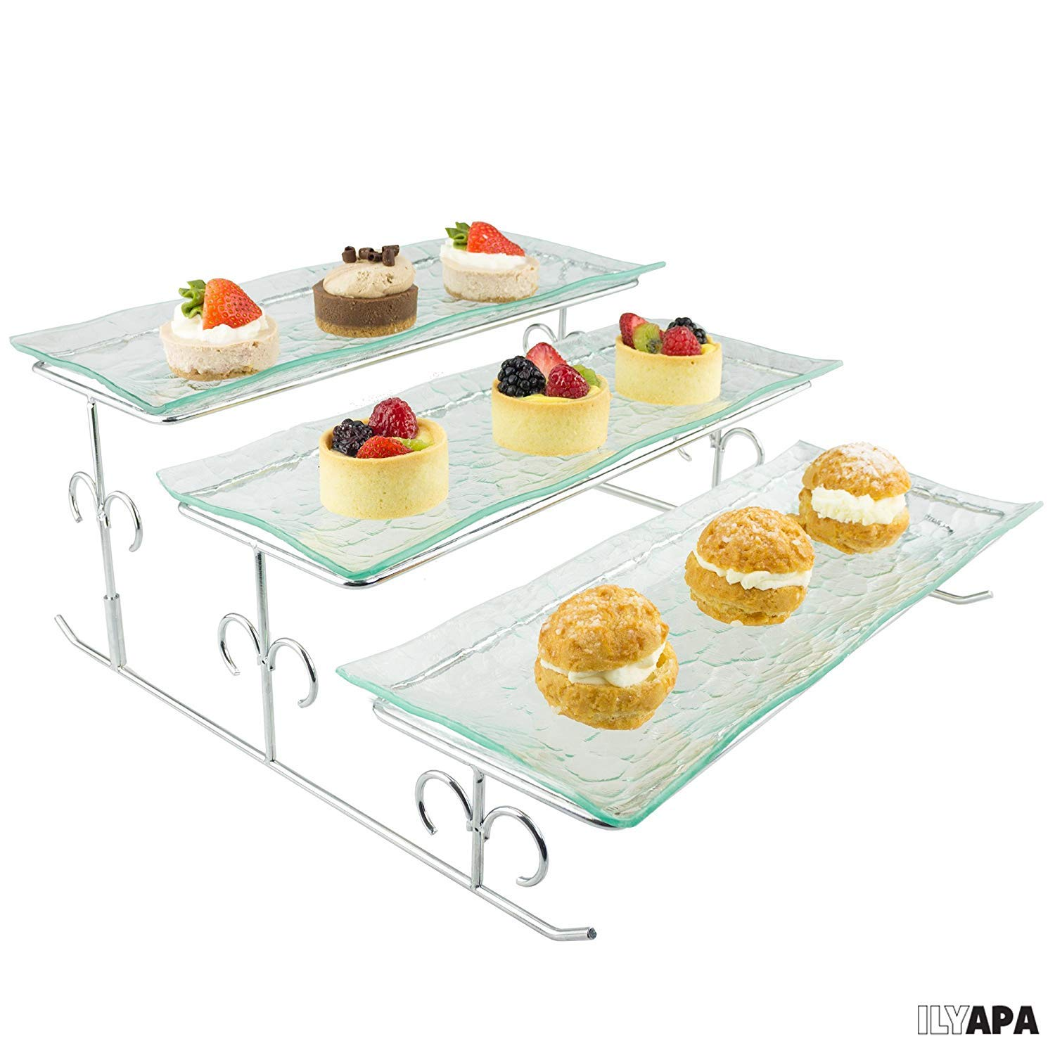 Tiered Serving Platter Appetizers /& More 2 Tier Server Stand with Bowls /& Tray Shrimp Perfect for Cake Dessert